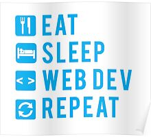 Eat Sleep Web Dev Repeat BLUE clear icons Poster