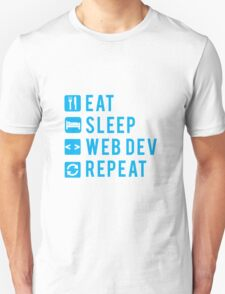 Eat Sleep Web Dev Repeat BLUE clear icons Unisex T-Shirt