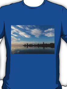 Blue and White Serenity - a Lakefront Stillness T-Shirt
