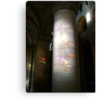 Stained glass onto stone column, Dunfermline Abbey nave Canvas Print