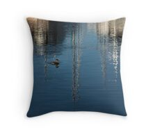 Young Red-Necked Grebe on Silver Throw Pillow