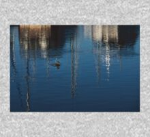 Young Red-Necked Grebe on Silver Kids Tee