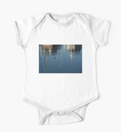 Young Red-Necked Grebe on Silver One Piece - Short Sleeve