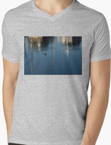 Young Red-Necked Grebe on Silver Mens V-Neck T-Shirt