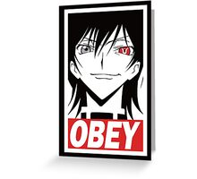 Code Geass Obey  Greeting Card