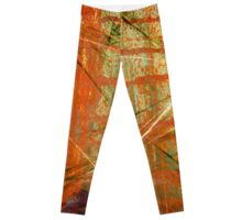 Rusted Orange and Purple Grunge Leggings