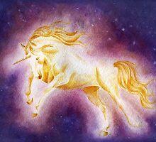 Sun Unicorn (Ballpoint Pen+Watercolor Painting) by Anila Tac