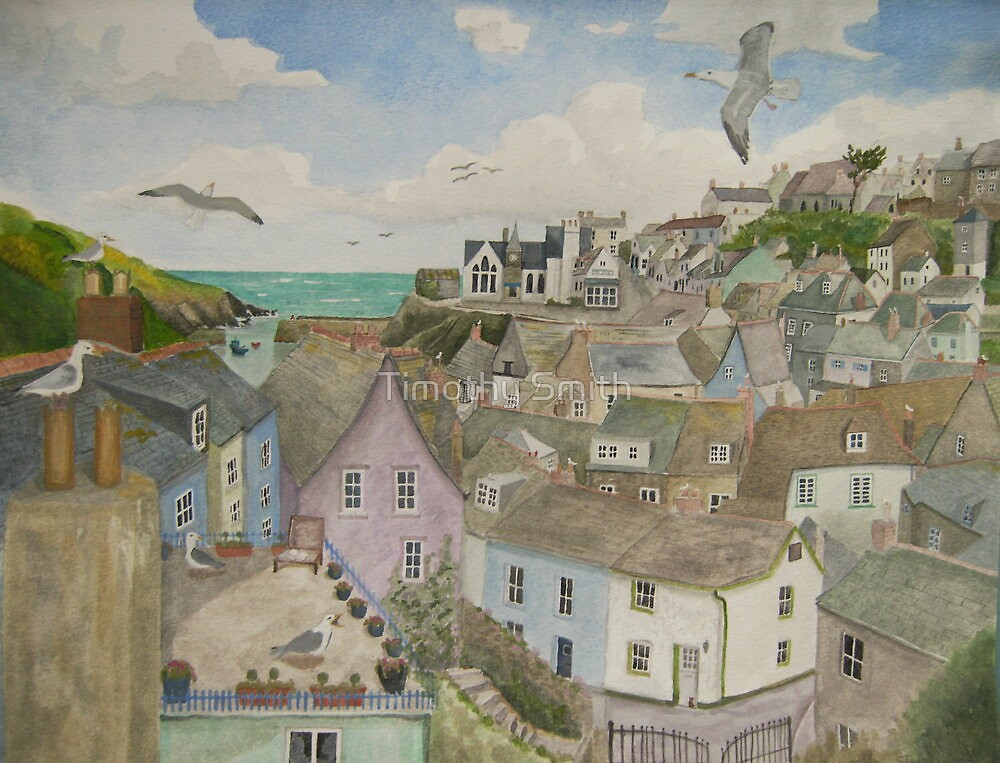 """A Crow's Nest View of Port Isaac, Cornwall"" by Timothy Smith"