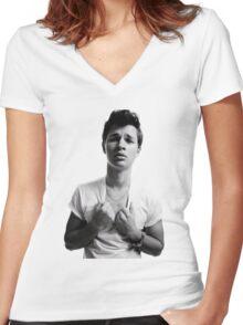 Ansel Elgort - Black & White Women's Fitted V-Neck T-Shirt