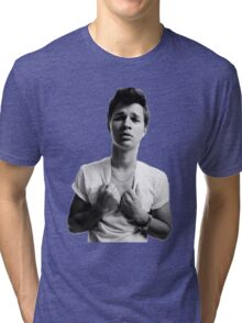 Ansel Elgort - Black & White Tri-blend T-Shirt