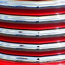 Street Rod Art: Hot Red, Chrome & Clouds  by Karen K Smith