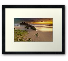 Two Rocks, Green Moss and a Sunset ! Framed Print