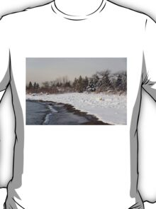 The Snow Just Stopped - a Winter Beach on Lake Ontario T-Shirt