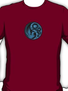 Blue and Black Dragon Phoenix Yin Yang T-Shirt