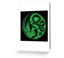 Green and Black Dragon Phoenix Yin Yang Greeting Card