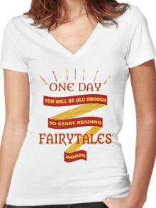 Reading Fairytales Women's Fitted V-Neck T-Shirt