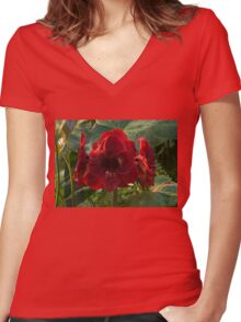 Vivid Scarlet Amaryllis Flowers - Happy Holidays! Women's Fitted V-Neck T-Shirt