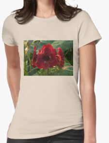 Vivid Scarlet Amaryllis Flowers - Happy Holidays! Womens Fitted T-Shirt