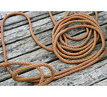Belliveau Cove Dock, Coiled Rope Photographic Print