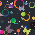 Butterflies and bubbles in retro colors by robertosch