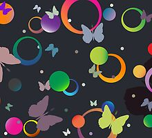 Butterflies and bubbles in retro colors by Laschon Robert Paul