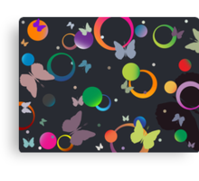 Butterflies and bubbles in retro colors Canvas Print