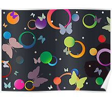Butterflies and bubbles in retro colors Poster