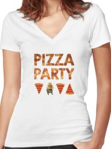 Pizza Party with Cats! Women's Fitted V-Neck T-Shirt