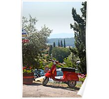 Tuscany Landscape and Scooter Poster