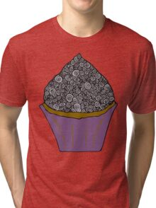 Greyscale Cupcake Doodle Tri-blend T-Shirt