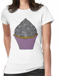 Greyscale Cupcake Doodle Womens Fitted T-Shirt