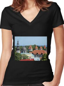 Rooftops Near the Baltic Women's Fitted V-Neck T-Shirt