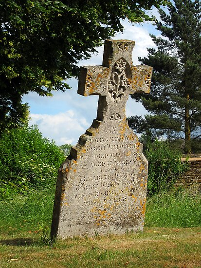 Leaning tombstone, Adlestrop, Gloucestershire, UK by buttonpresser