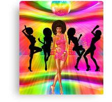 Retro disco dance scene with silhouettes Canvas Print