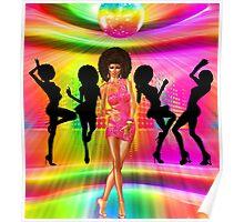 Retro disco dance scene with silhouettes Poster