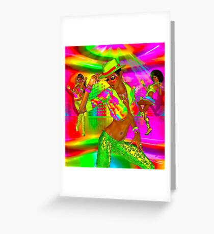 Disco dance party girls on a colorful background Greeting Card