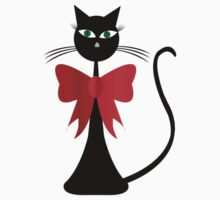Black stylized cat with red ribbon by hibrida13