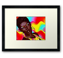 Beautiful Black Woman with colorful make up  Framed Print