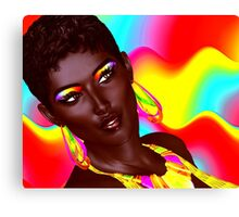 Beautiful Black Woman with colorful make up  Canvas Print
