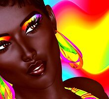 Beautiful Black Woman with colorful make up  by TK0920