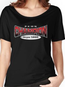 Pokemon Champion_Red_DarkBG Women's Relaxed Fit T-Shirt