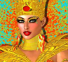Egyptian queen adorned with gold jewelry and armor.  by TK0920