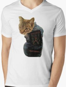 Iron Maiden Cat Mens V-Neck T-Shirt