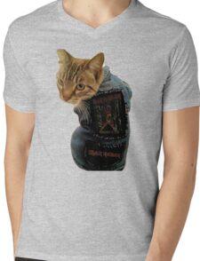 Iron Maiden Cat Mens V-Neck T-Shirt