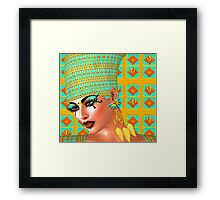 Egyptian queen adorned with gold and turquoise. Framed Print