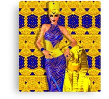 Seductive Egyptian woman in gold and blue. Canvas Print