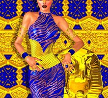 Seductive Egyptian woman in gold and blue. by TK0920