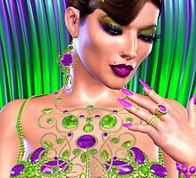 Girl with Gemstones of Emerald and Amethyst by TK0920