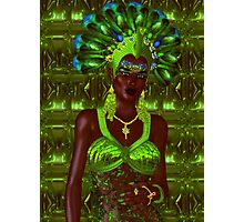 Carnival dancer woman in green feathers Photographic Print