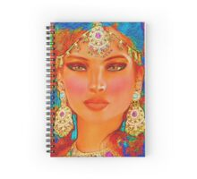 Abstract digital art of Indian or Asian woman's face Spiral Notebook